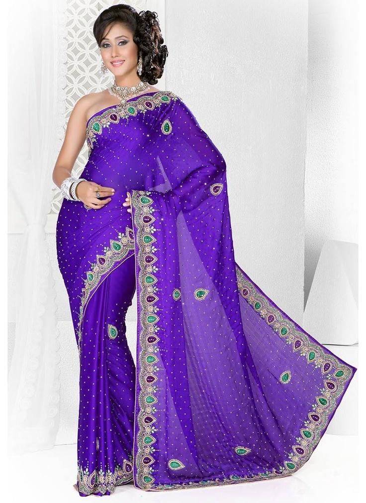 Blue Beads Adorned Chiffon Saree