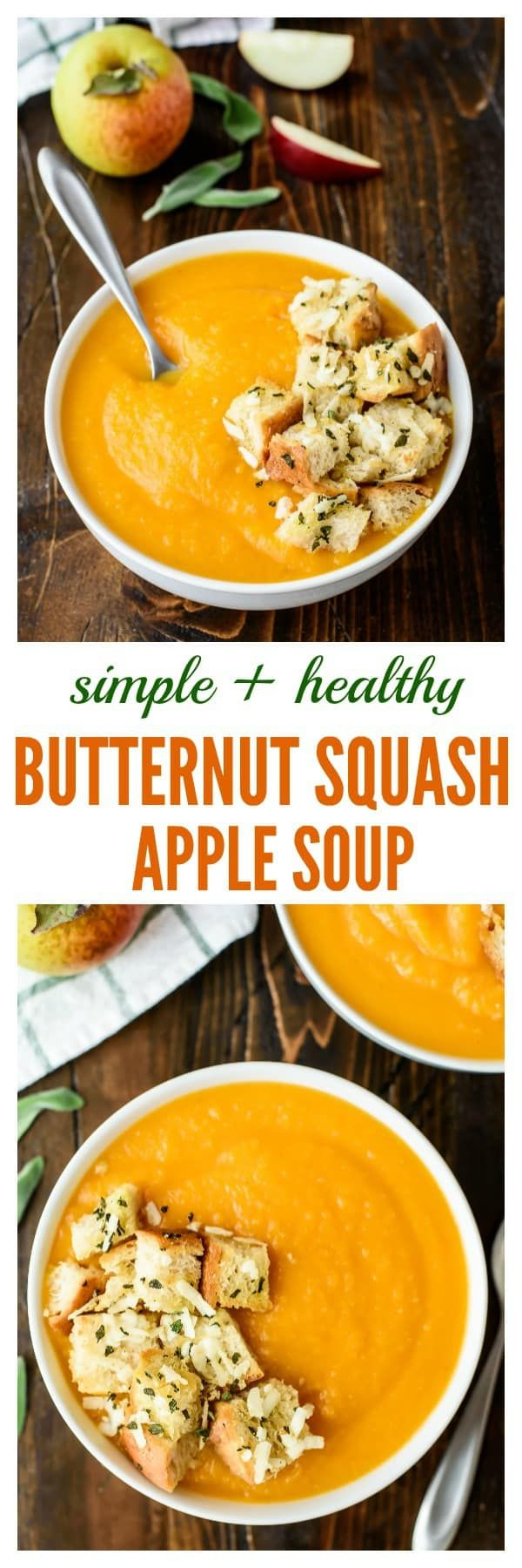 Butternut Squash Apple Soup is a healthy and easy squash soup recipe. Perfect for freezing and reheating. This is one of my favorite fall soup recipes! | @wellplated | #soup #squash #fall #comfortfood #recipe