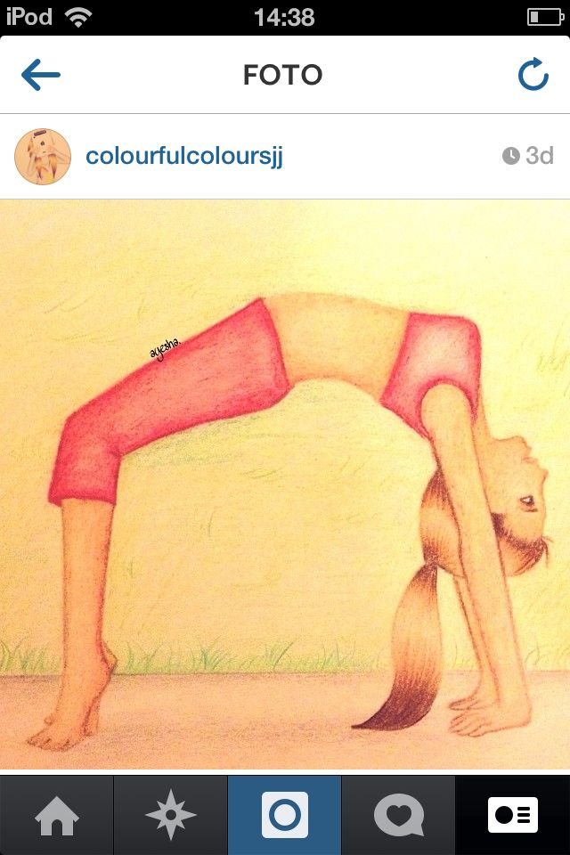 Drawing girl gymnastics bridge