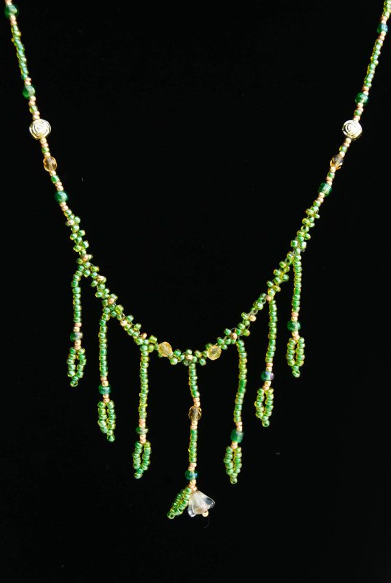 Green & Gold Leaf Fringe Beaded Necklace  Glass by HumdrumAuguries