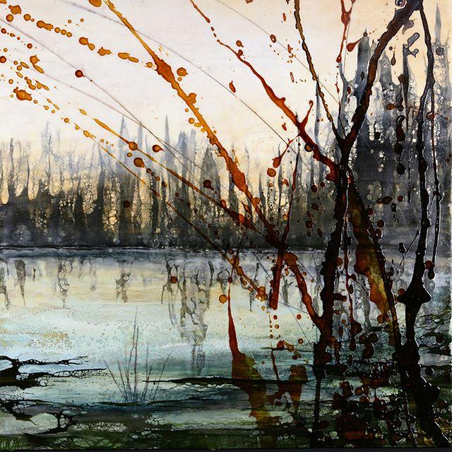 "Alicia Tormey | Emerald Pond | encaustic triptych, 24""x72"" /sm…"