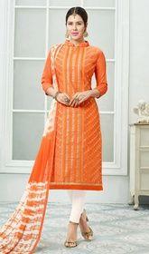 Orange Color Chanderi Embroidered Churidar Dress
