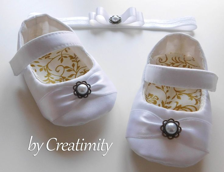 White baby shoes, crib shoes, flower girl flats, christening shoes, baptism shoes, wedding shoes, ballerina shoes, soft sole shoes by CreatimityElegance on Etsy