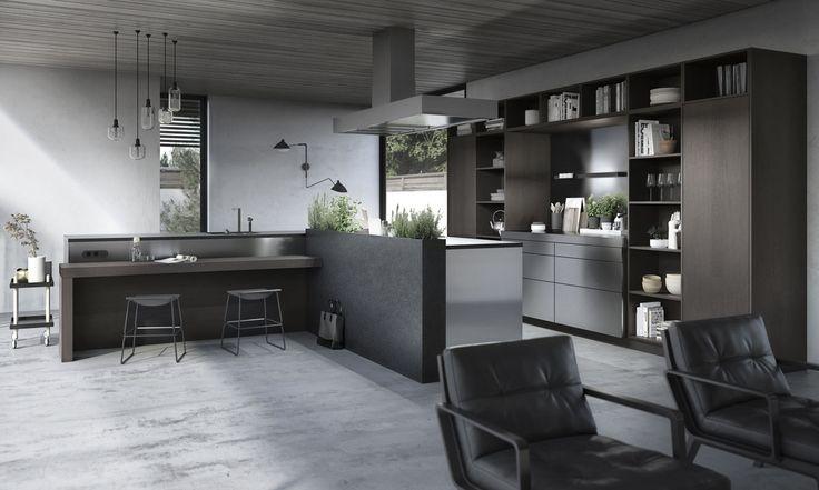 Les nouveaux éléments design et fonctionnels de SieMatic Urban, sont majoritairement ouverts rendant la pièce toujours plus attractive. Etagères, tiroirs et coulissants, espacés les uns des autres, permettent d'entrevoir les divers objets rangés.