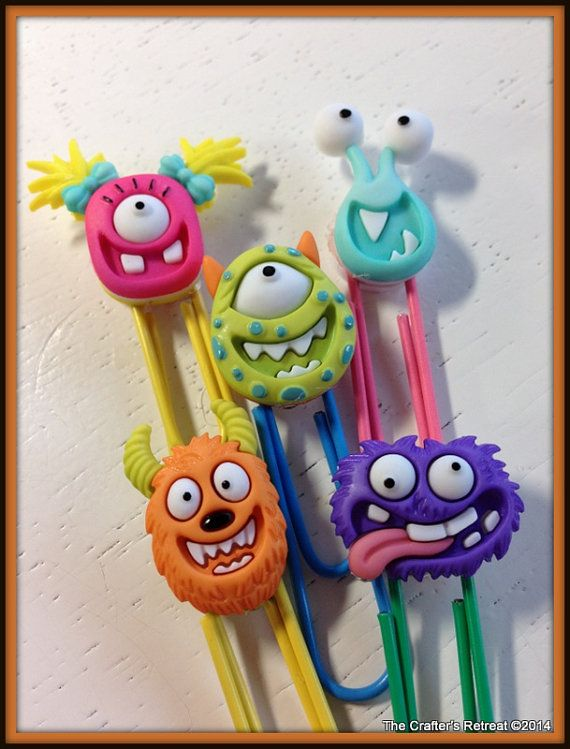 Monster Fun Paper Clips for Planners, Filofax, Gillios or Books Notebooks Midori