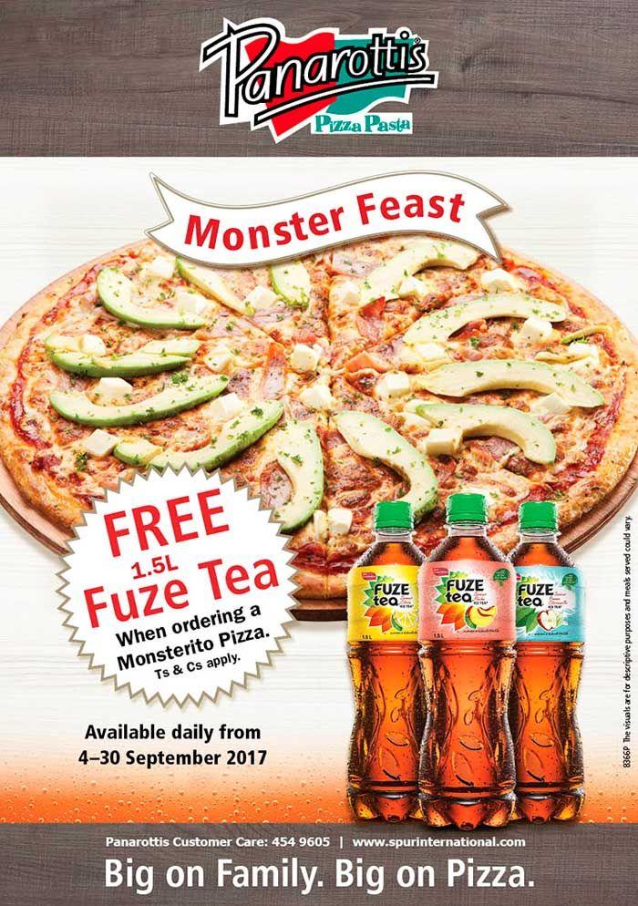 Panarottis: Monster Feast - Free 1.5L Fuze Tea When Ordering a Monsterito Pizza. Tel: 454 9605