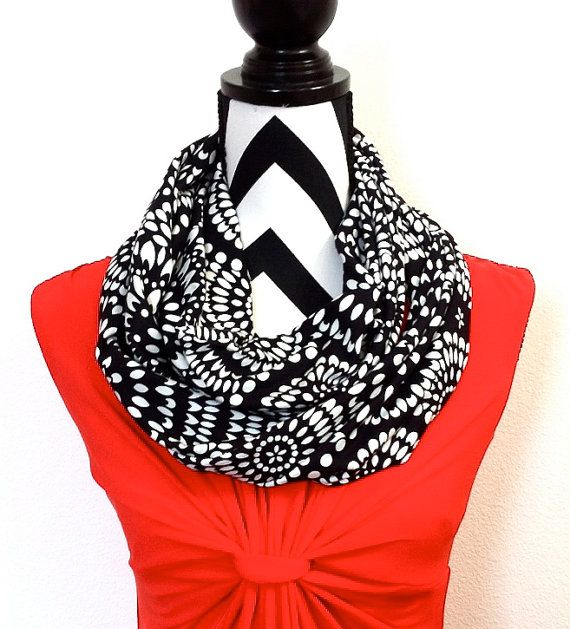 CUTE gift for MOM!! https://www.etsy.com/listing/221529195/infinity-scarf-black-and-white-floral?ref=shop_home_active_16