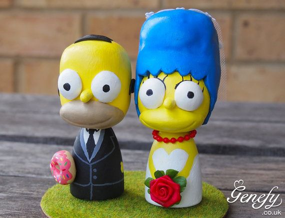 Simpsons wedding cake topper figurine