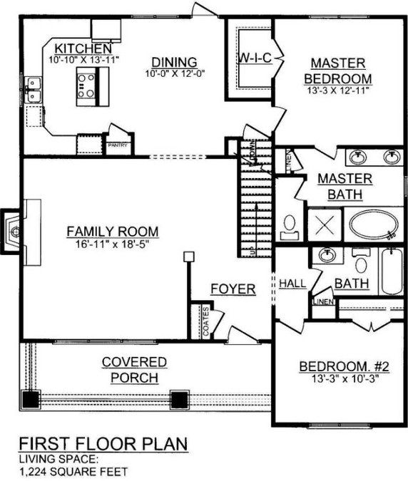 3 bedroom 2 bath house plan image