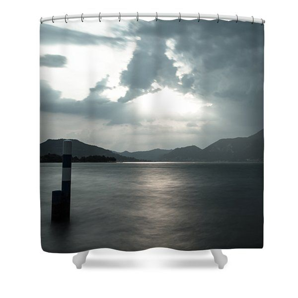Stormy Sunset On The Lake Shower Curtain by Cesare Bargiggia