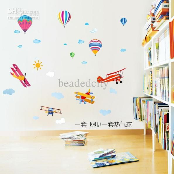 [funlife]  15% Off [1+1] Kids/Nursery Airplane + Balloon Combination Art Wall  Sticker Decal Deco