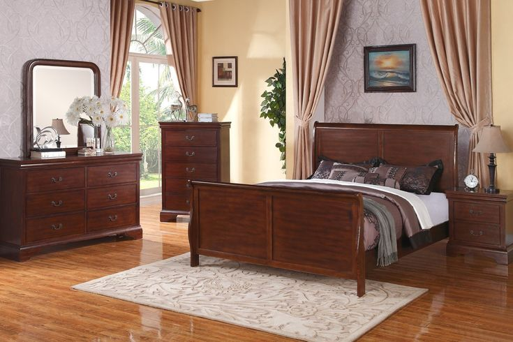 what hardwood goes well with cherry furniture | Poundex F9231 Louis Philippe Sleigh Bedroom Set