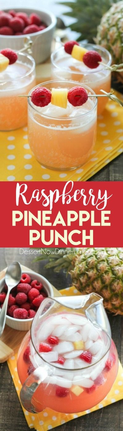 Raspberry Pineapple Punch is fruity, fizzy, and family friendly. Great for your summer party or baby shower.