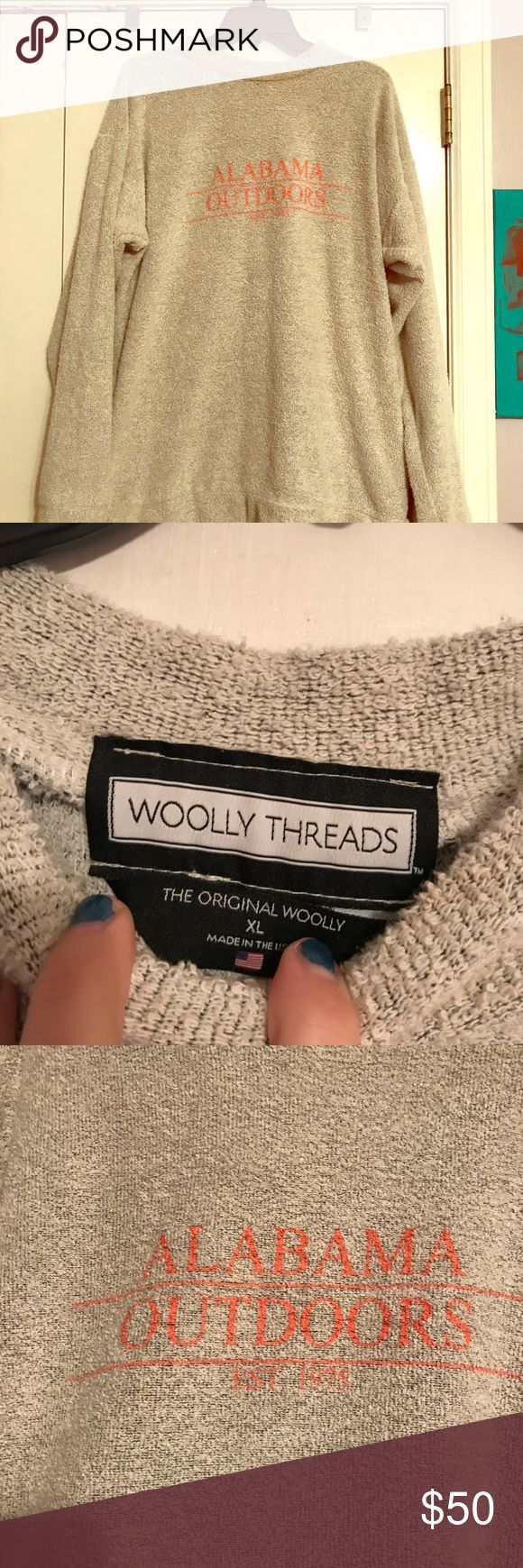 Authentic Woolly Threads pullover AL outdoors Just one look, and everyone will know where your heads at. You're on your way to class, the office, or just to grab a bite, but you'd rather be out on the trail, exploring! They're as soft as a new towel, but you can wear these in public. Woollies are made from a reverse-loop process that produces a durable sweater that feels like a wool, but isn't! It was discovered by the creators on a trip abroad, and you'll love to take your Alabama Outdoors…