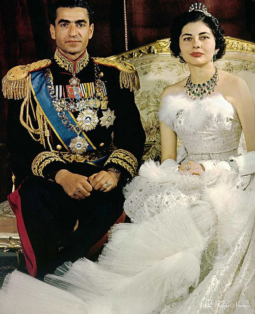 H.M. Mohamed Reza Pahlavi Shah of Iran & Queen Soraya - The Wedding Day On February 12, 1951     Queen Soraya's Dress Was Designed By Christian Dior