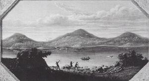 Painting of Boston in 1630 by Samuel Lancaster Gerry, circa 1836. The mountains were later cut down and used to fill in the surrounding bay in the 19th century
