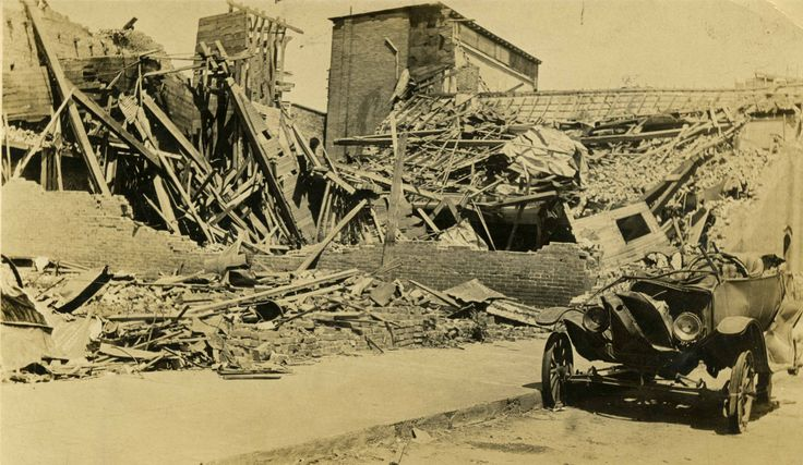 Damage from an F4 tornado that ripped through Poplar Bluff, MO on May 9, 1927.  [SHS of MO-Columbia Photo Collection P248.1]