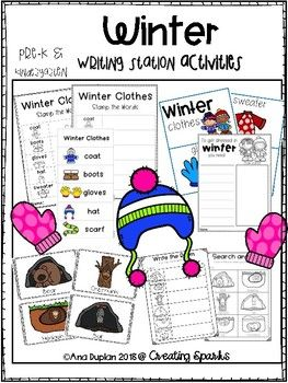 Winter writing station pack for Pre-k and Kindergarten.