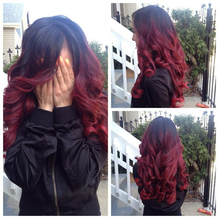 deep red hair color with mocha roots - Google Search