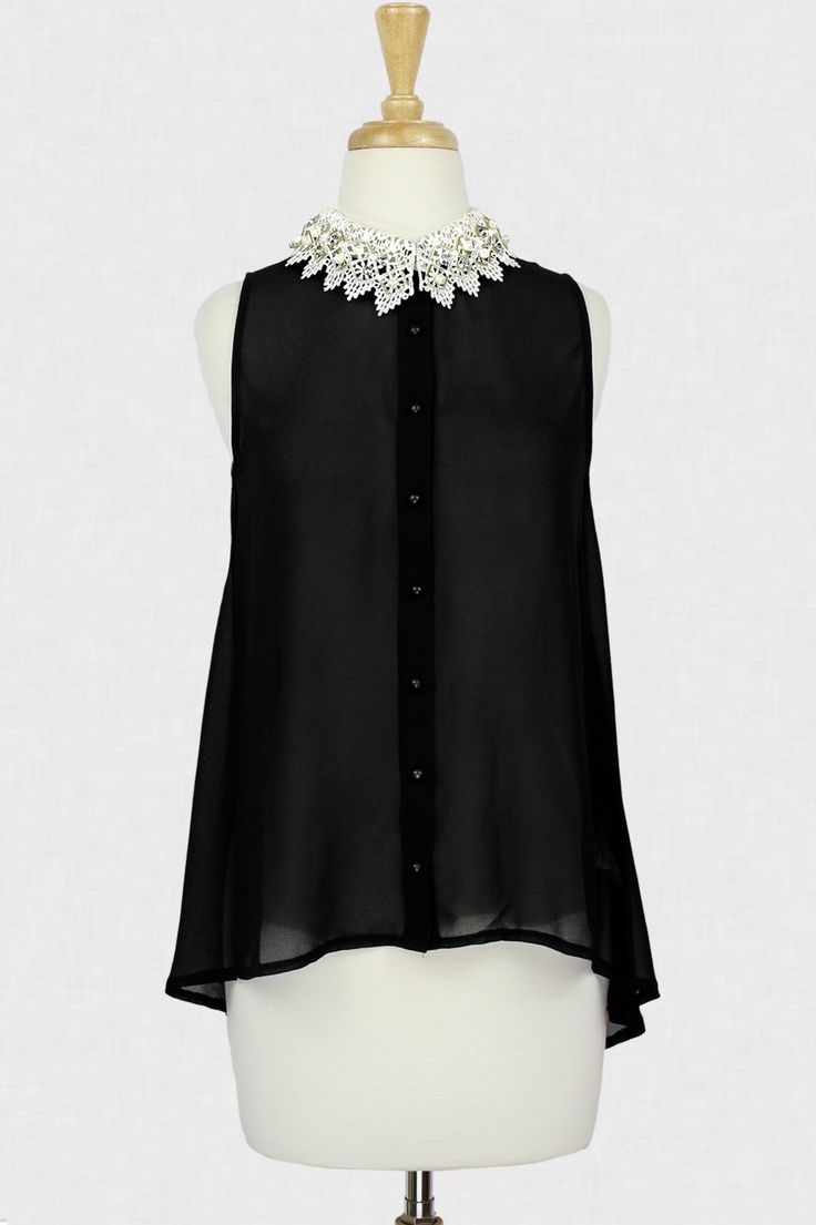Black Collared Top #pearls #gems #beads