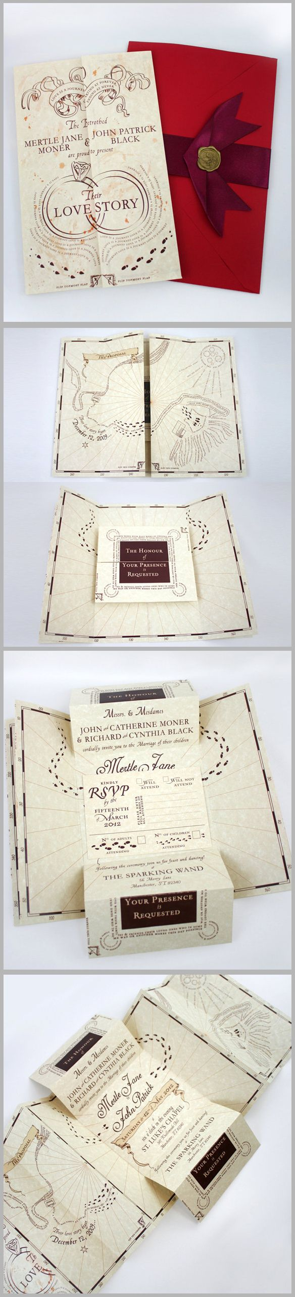 Wedding invitation designed like the Marauder's Map. People make the most amazing things!