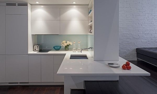 A compact four-level apartment with a 425 square-foot footprint on the the Upper West Side in Manhattan.