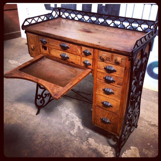 """$550 - Gotta take a look at this really unique #jewelersworkbench. Looks to have been modified over time to meet the individual's needs, which has resulted in a very unique desk with a cast iron frame, walnut, oak, maple & mahogany pieces. 39Wx19Dx42H"""" Construction Junction dot org #reuse #salvaged #SecondHand #BuildingMaterials #donate #recycle #upcycle #CJReuse #pittsburgh"""