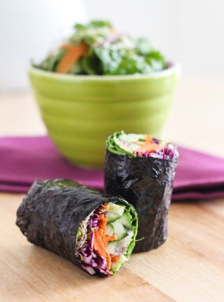 Veggie-Packed Nori Wraps - Loaded with all sorts of fresh veggies, these nori wraps make a delicious lunch or snack and can be customized for whatever ingredients you have on hand. Gluten-free + vegan.