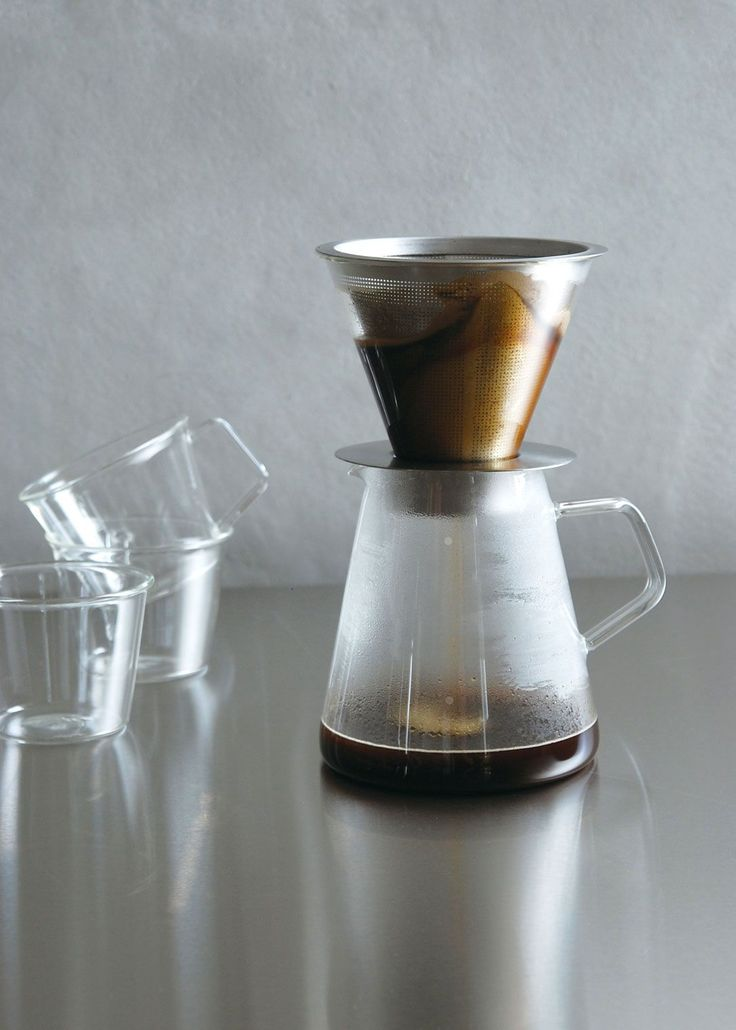 Glass Coffee Pot with Stainless Pour-Over Filter