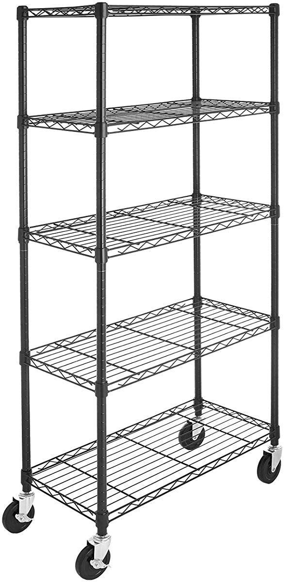 5 Shelf Shelving Unit On 4 Casters Black Shelving Unit Metal