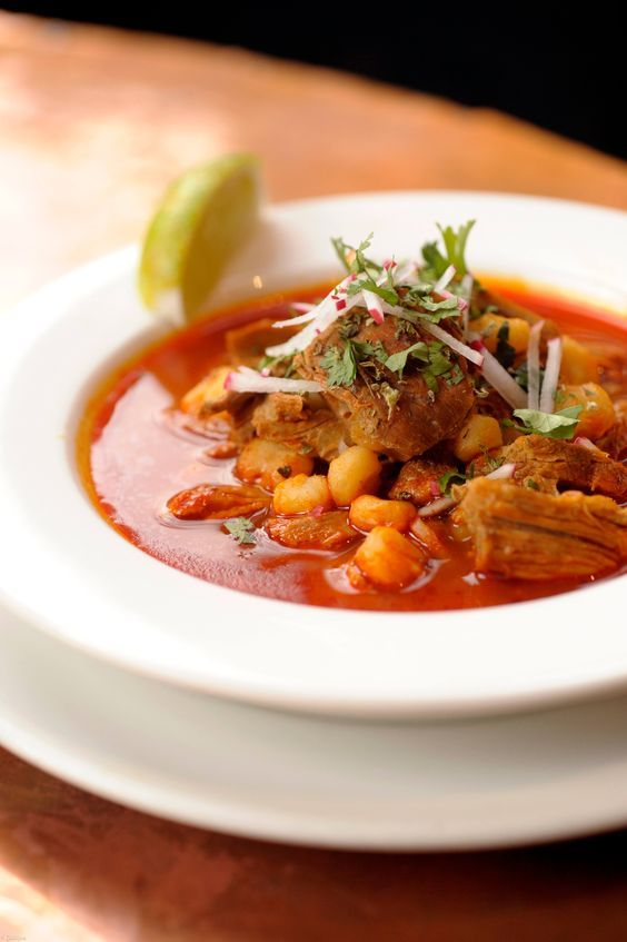 Chef Aaron Sanchez recipe for Pozole Rojo with Chile Colorado Sauce using Cacique Queso Fresco