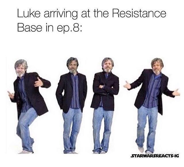Luke showing up at the Resistance Base in episode VIII