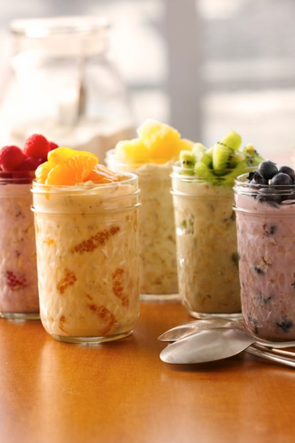 Make these colorful fruity oatmeal combos tonight and enjoy when you wake up!
