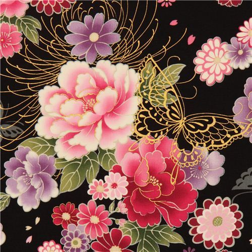 black butterfly and flower fabric with gold by Kokka