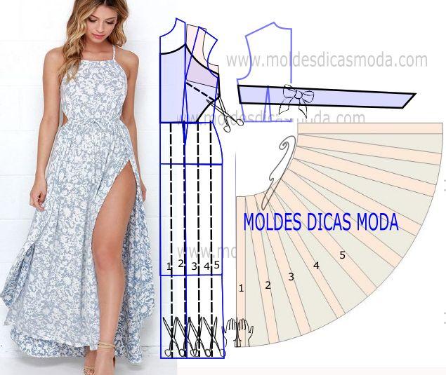 Analise com a devida atenção o desenho do molde de vestido de verao para fazer a leitura de forma correta e de modo a executar o molde sem erros.