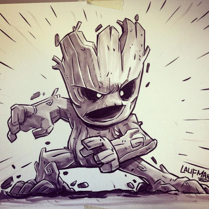 We are groot. Final marker rendering. Inking was done with a Tom Bow brush pen…