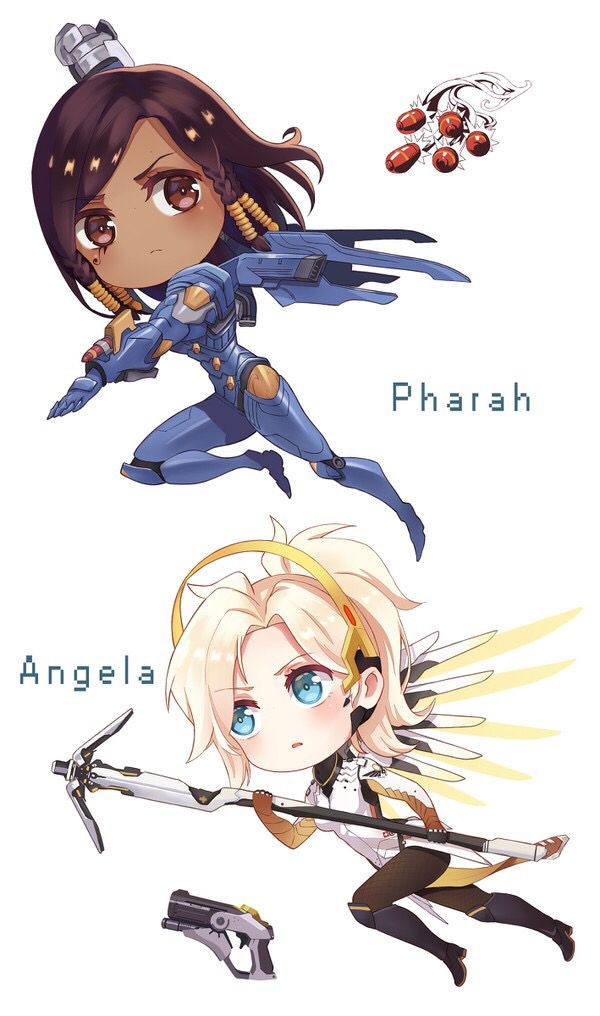 Overwatch Girl Fanart Wallpaper Chibi Mercy And Pharah Overwatch Overwatch Pharah