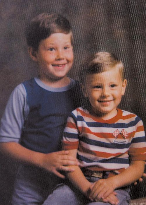 Cory Monteith age 3 with his brother Shaun age 7
