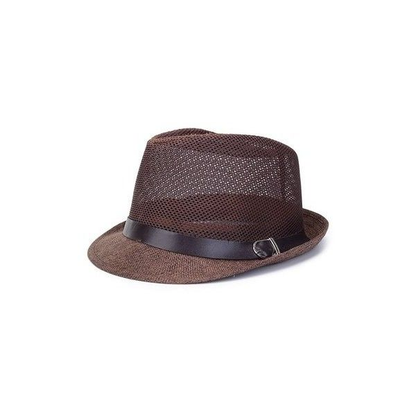 Unisex Hollow Out Mesh Top Hat Casual Braid Fedora Beach Sun Flax... ($7.18) ❤ liked on Polyvore featuring accessories, hats, dark coffee, woven hat, top hat, crown hat, print hats and pattern hats