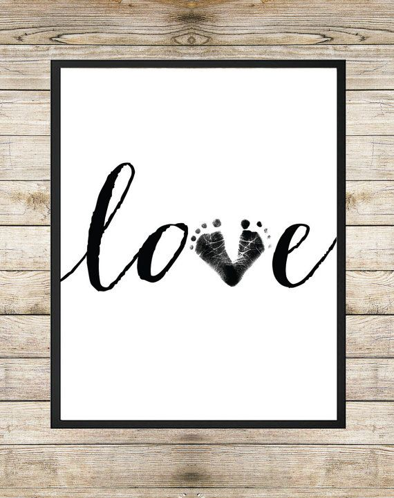Baby Footprint Love 8X10 INSTANT DOWNLOAD by SouthernSpruce - Handwritten Art, Unisex Nursery Wall Art, Baby Footprint Art, Typography