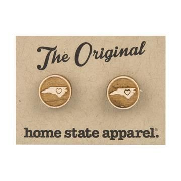 Made in USA   Show your love for home with the Home State Shape Post Earrings by Home State Apparel. Made of sustainably sourced, high quality wood, each spherical earring is engraved with a heart in the center. We carry the three southern states in which there are one or more Mast Store locations- North Carolina, South Carolina, and Tennessee.