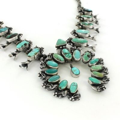 Sterling Silver Turquoise Squash Blossom Old-Style Necklace #jewelry