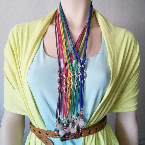 Collar largo Quar de ante con cuarzo blanco, cristal y ágata   www.facebook.com\bycosmicgirl