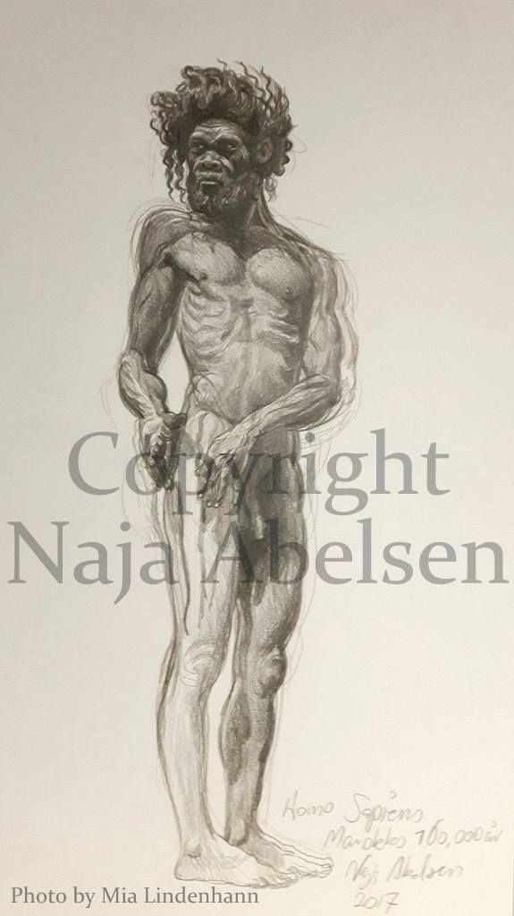3 hour study, of Homo Sapiens from Marokko, Model in Moesgaard Museum, Denmark, by the brothers Kennis. Graphitint on paper. 2017 by www.najaabelsen.dk