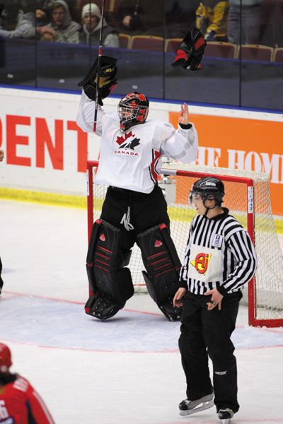 Carey Price celebrates at the 2007 World Junior Hockey Championships