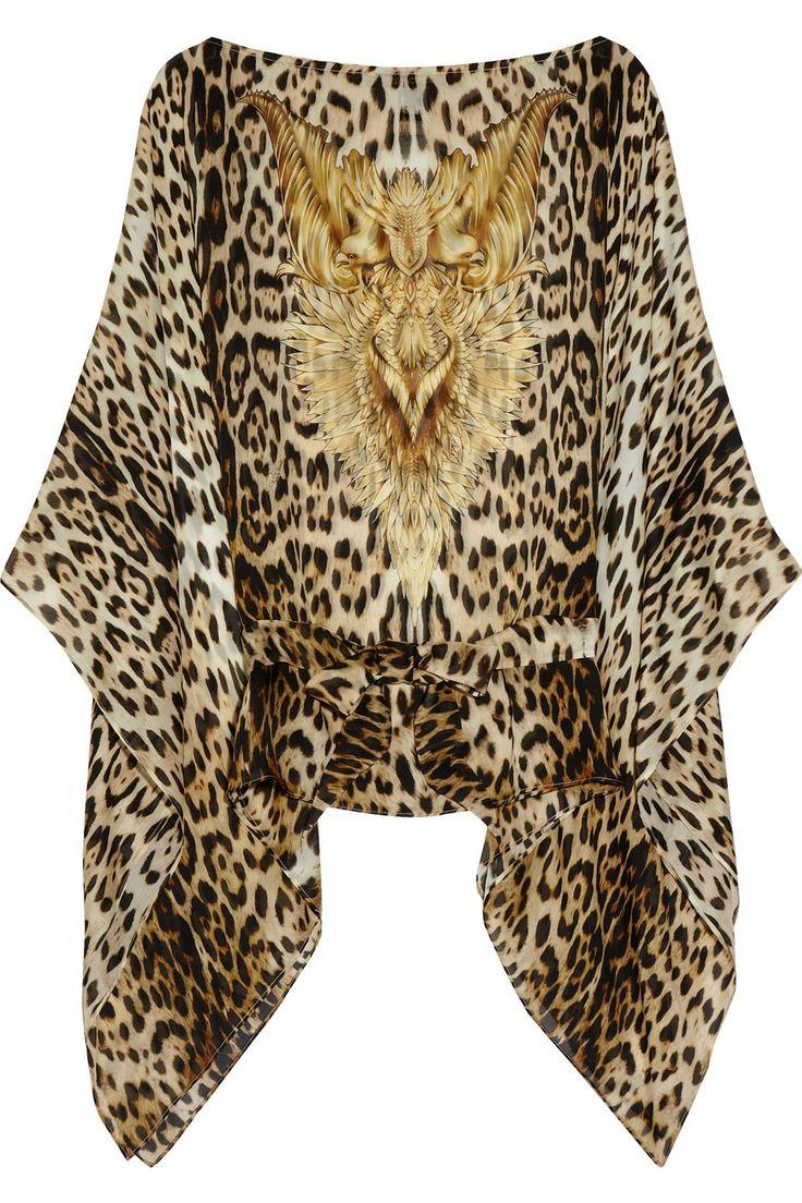 leopard print printed silk chiffon top roberto cavalli