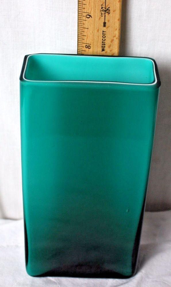 Cased glass rectangular vase opaque teal blue white mid for Decor8 crack