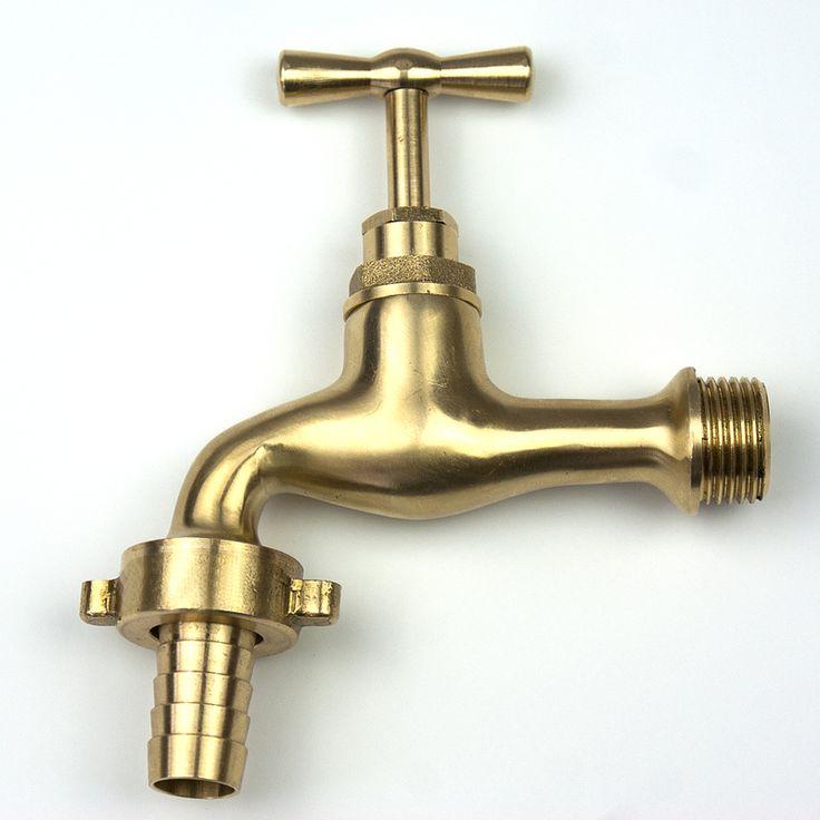 "Outside Polished Brass Tap Inlet 1/2"" BSP Outlet 3/4"" Male Standard 1/2"" HOSE End - QG-T-B-11213-12S"