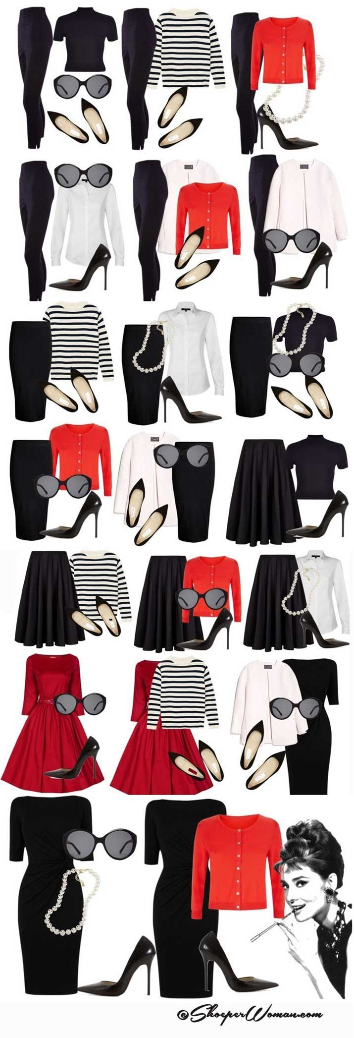 Audrey Hepburn style outfits from small capsule wardrobe.