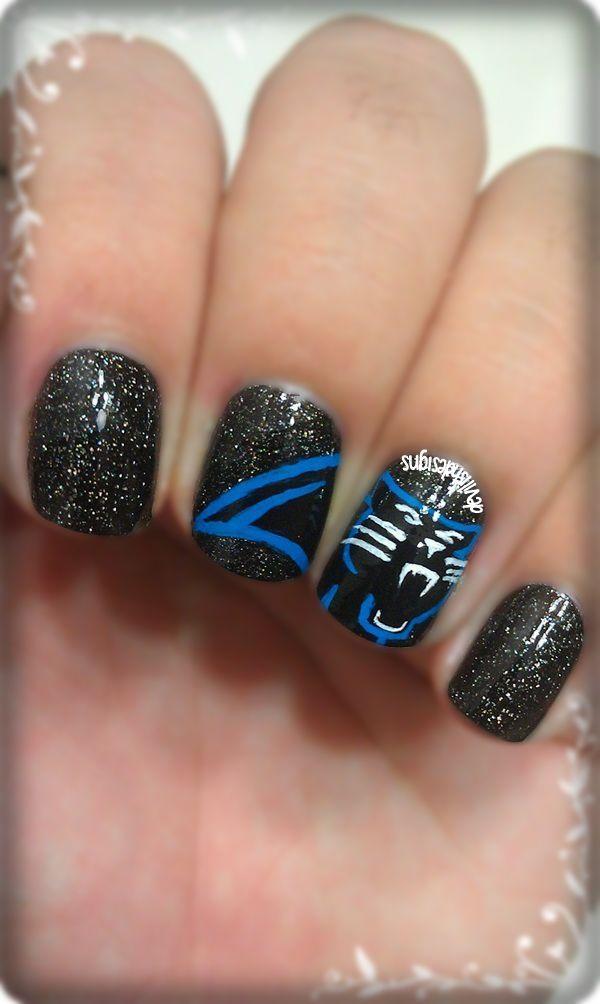 Sunday Football: Carolina Panthers · Football Nail ArtThimbleCarolina ... - 25+ Beautiful Carolina Panthers Nails Ideas On Pinterest Really